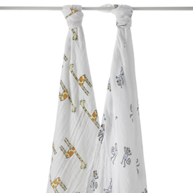 jungle jam - monkey + giraffe classic swaddles