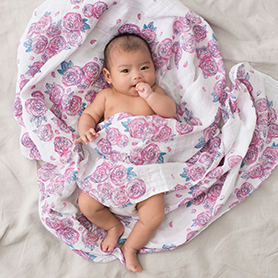 spring peony classic swaddle