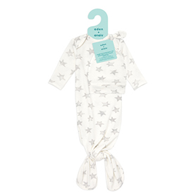 star 0-3 months snuggle knit gown+hat set