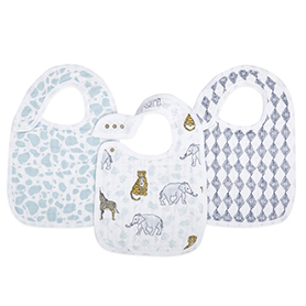 jungle 3-pack classic snap bibs